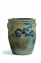 DECORATED STONEWARE CROCK.