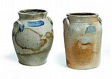 TWO STONEWARE CROCKS.