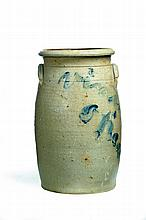 DECORATED STONEWARE CHURN.