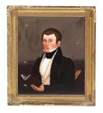 PORTRAIT OF A YOUNG MAN BY HANNAH THURBER FAIRFIELD (CONNECTICUT, 1808-1894).