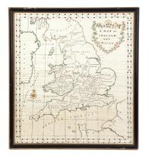 NEEDLEWORK MAP OF ENGLAND AND WALES.