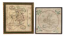 TWO NEEDLEWORK MAPS.