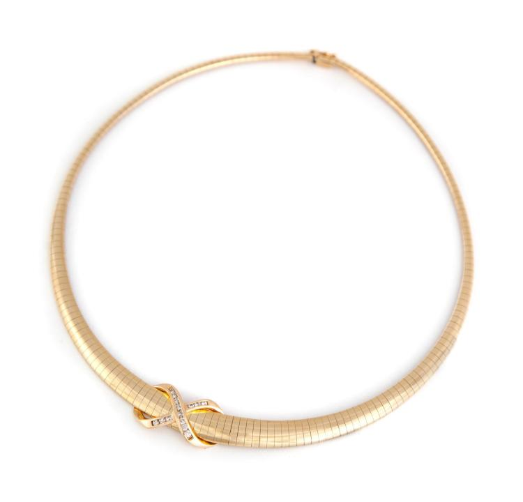 omega choker necklace with slide