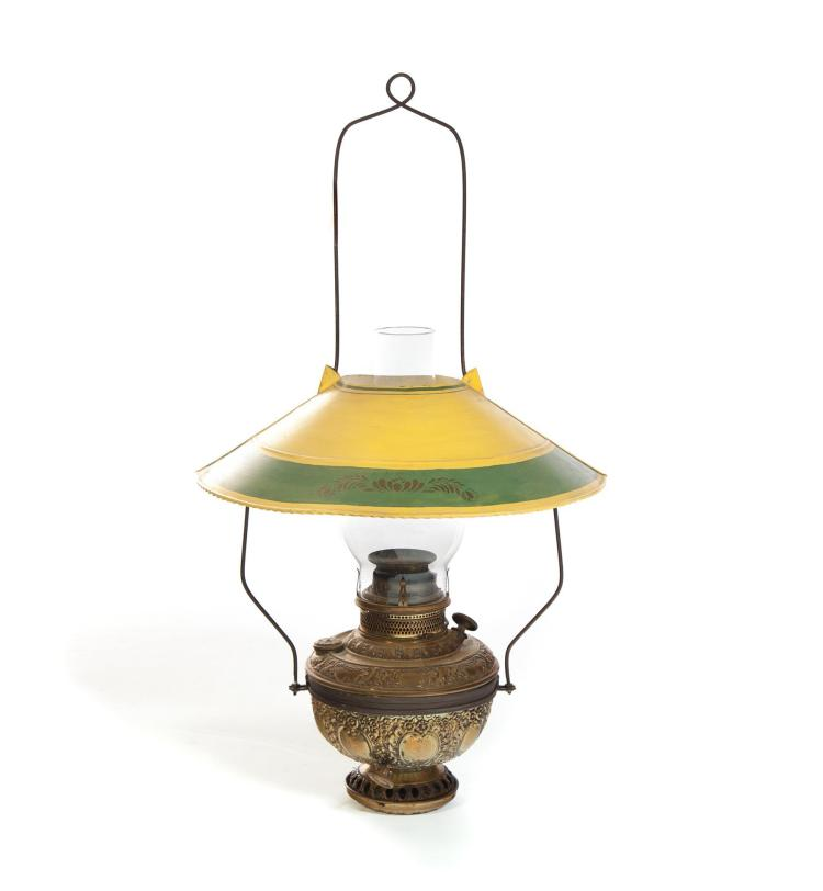 HANGING OIL LAMP WITH PAINTED TIN SHADE