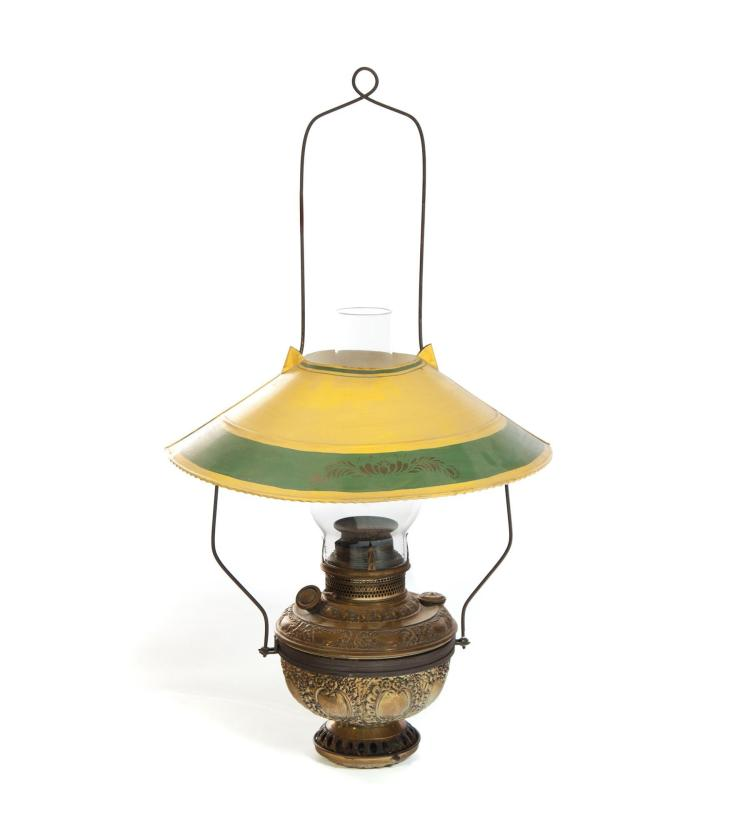 hanging oil lamp with painted tin shade. Black Bedroom Furniture Sets. Home Design Ideas