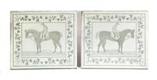 TWO ETCHED PLATE GLASS MIRRORS WITH IMAGES OF FAMOUS ENGLISH RACE HORSES.