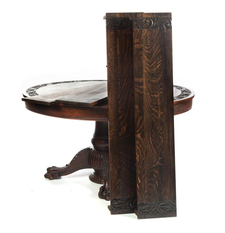 oak dining room table with leaves
