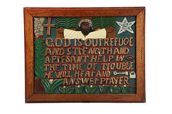 GOD IS OUR REFUGE BY ELIJAH PIERCE (COLUMBUS, OHIO, 1892-1984).
