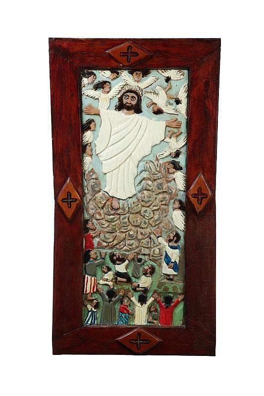 JESUS AND THE ANGELS BY ELIJAH PIERCE (COLUMBUS, OHIO, 1892-1984).