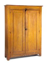 AMERICAN GRAIN-DECORATED WALL CUPBOARD.