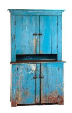 AMERICAN COUNTRY STEPBACK CUPBOARD.
