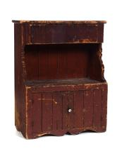 AMERICAN CHILD-SIZE HUTCH BACK DRY SINK.
