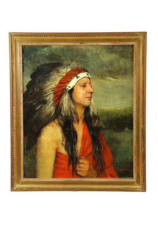 PORTRAIT OF AN AMERICAN INDIAN BY RICHARD CREIFELDS (NEW YORK, 1853-1939).