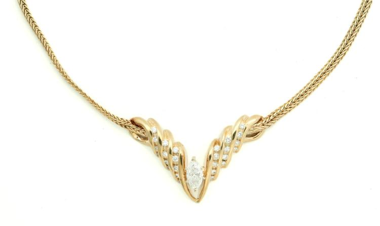 CONTEMPORARY MARQUISE DIAMOND NECKLACE.