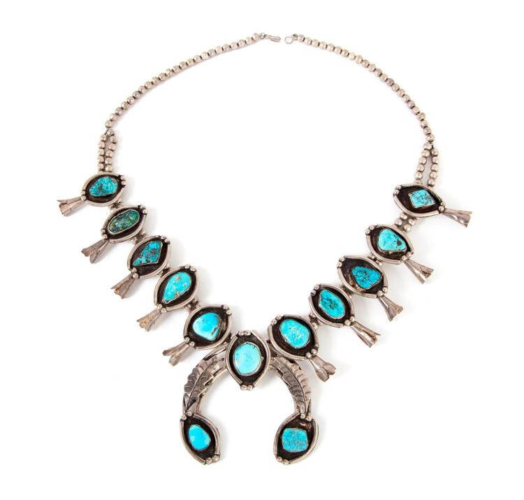 VINTAGE NAVAJO SILVER AND TURQUOISE SQUASH BLOSSOM NECKLACE.