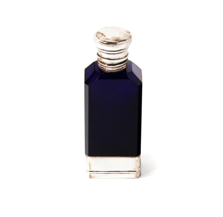STERLING AND GLASS VINAIGRETTE/PERFUME BOTTLE.