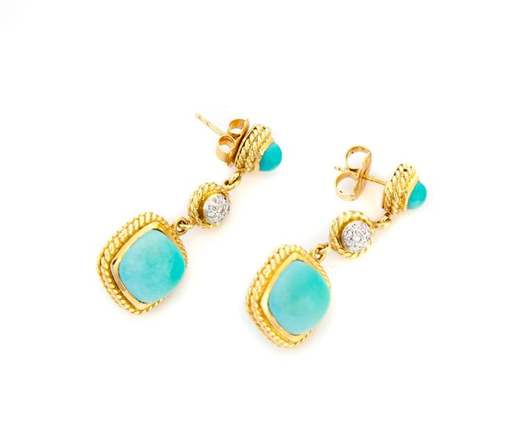 18K GOLD, DIAMOND, AND TURQUOISE EARRINGS.