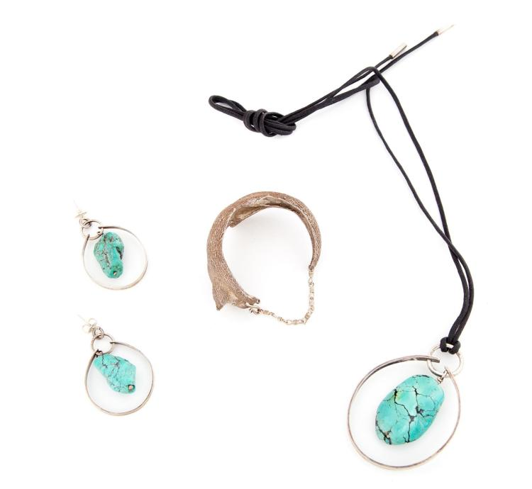 THREE STERLING SILVER PIECES BY MARY ANN SCHERR.