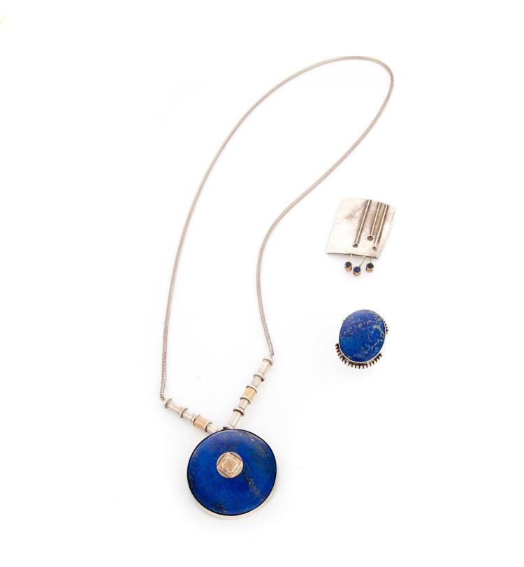 THREE PIECES OF JEWELRY WITH LAPIS, MARY ANN SCHERR.