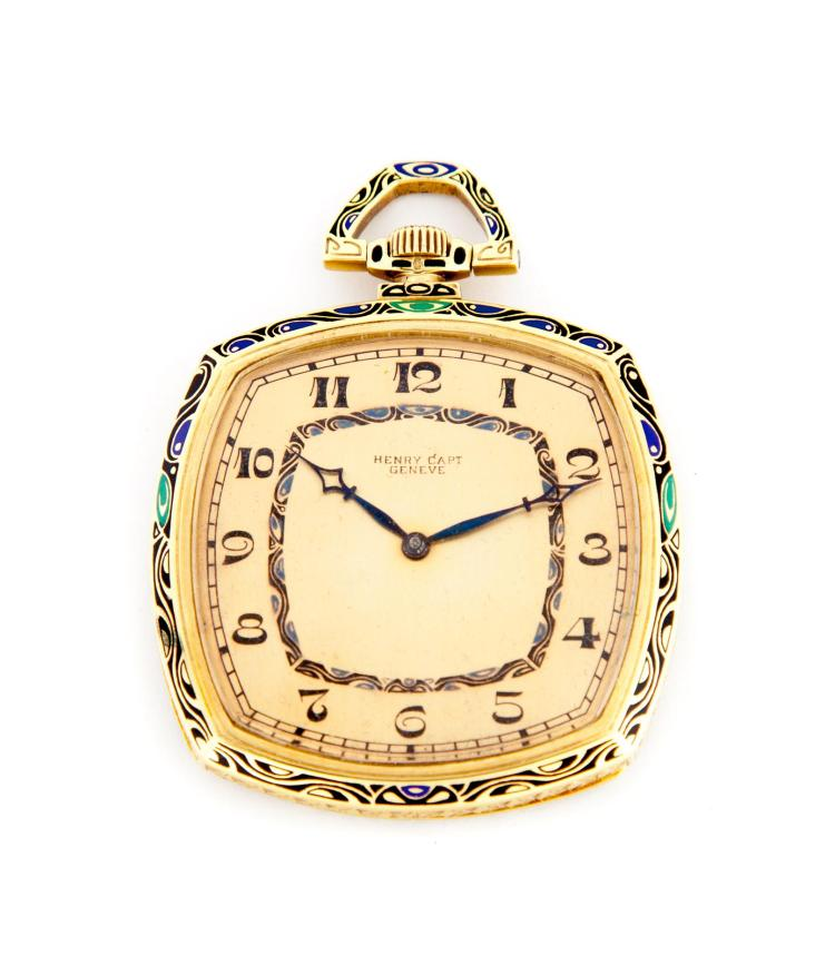 ART DECO 18 KARAT YELLOW GOLD POCKET WATCH.
