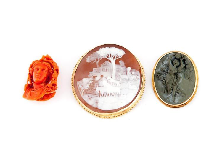 TWO CAMEOS AND UNMOUNTED CORAL CARVING.