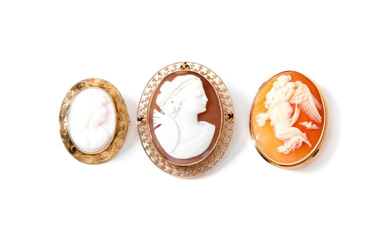 THREE CARVED CAMEOS.