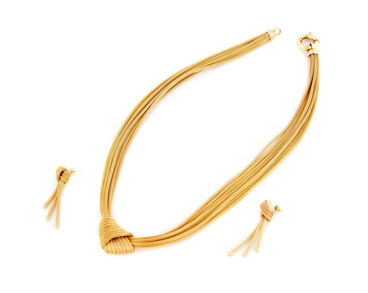 14K GOLD MULTI-STRAND NECKLACE AND EARRINGS.