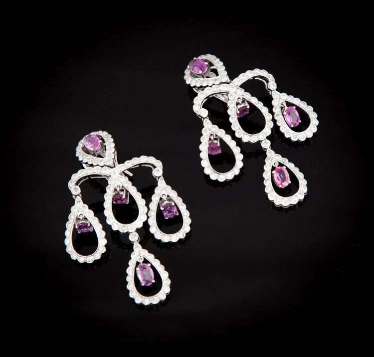 WHITE GOLD, PINK SAPPHIRE AND DIAMOND EARRINGS.