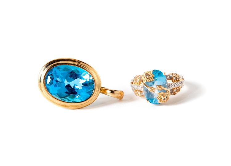 BLUE TOPAZ PENDANT AND RING.