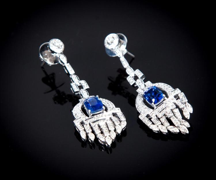 0ART DECO-STYLE SAPPHIRE AND DIAMOND EARRINGS.
