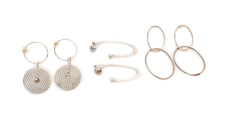 THREE PAIRS OF STERLING SILVER EARRINGS, MARY ANN SCHERR.