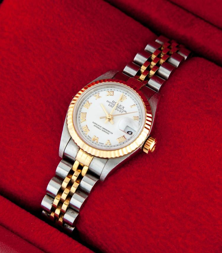 LADIES'' STAINLESS AND 18K GOLD ROLEX DATEJUST.
