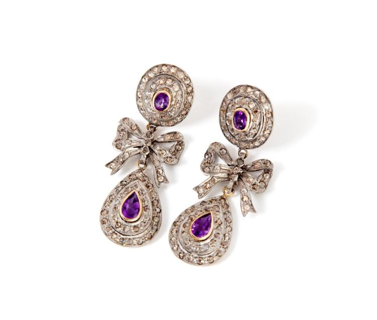 VICTORIAN-STYLE AMETHYST AND ROSE CUT DIAMOND EARRINGS.