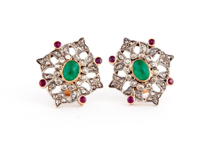 VICTORIAN-STYLE EMERALD, RUBY AND ROSE CUT DIAMOND EARRINGS.