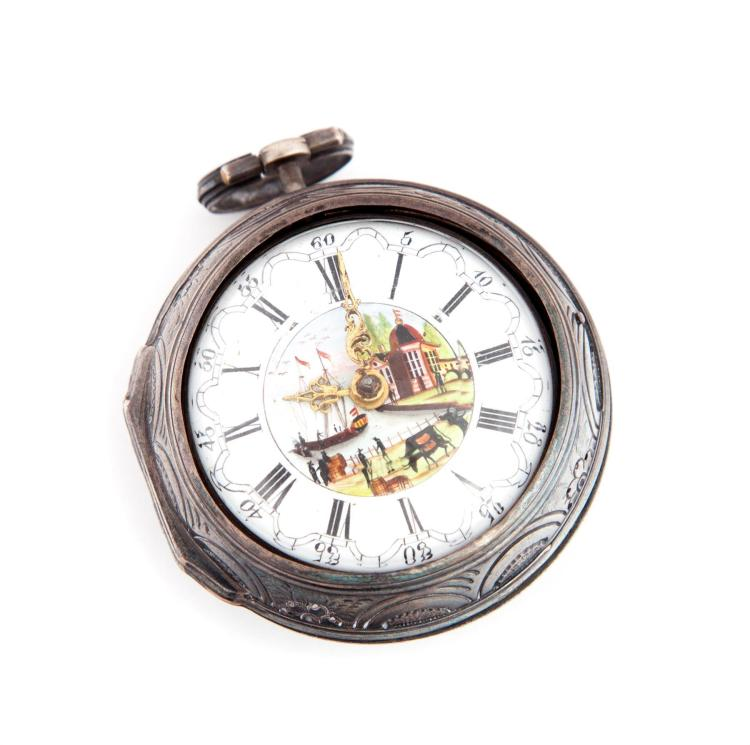 EARLY SAMSON OF LONDON VERGE FUSEE POCKET WATCH.