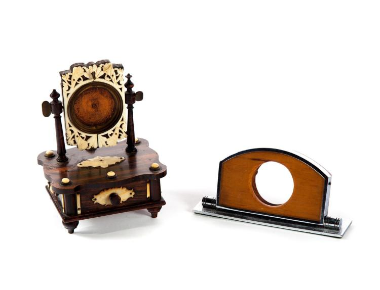 TWO CARVED WOOD POCKET WATCH STANDS.