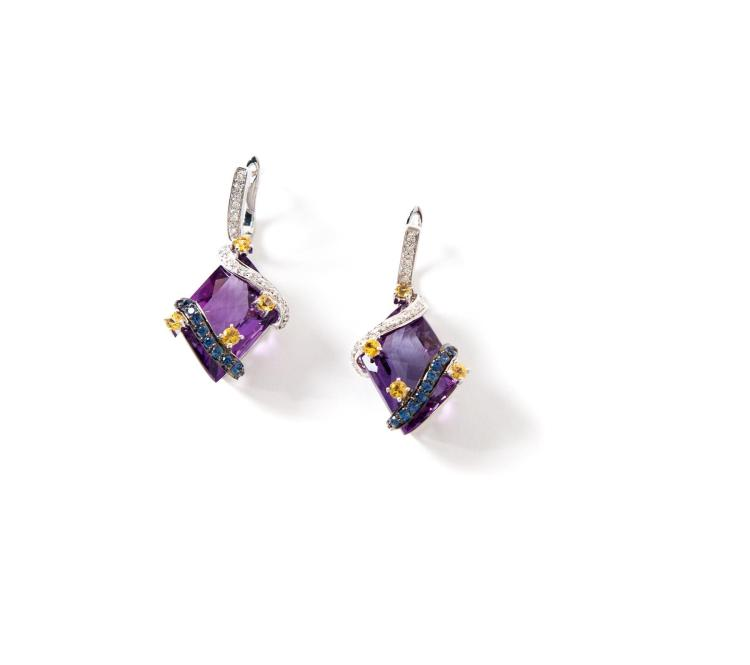 WHITE GOLD AND FANCY CUT AMETHYST EARRINGS.