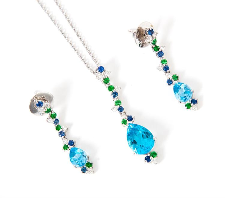 BLUE TOPAZ AND DIAMOND EARRINGS AND NECKLACE.