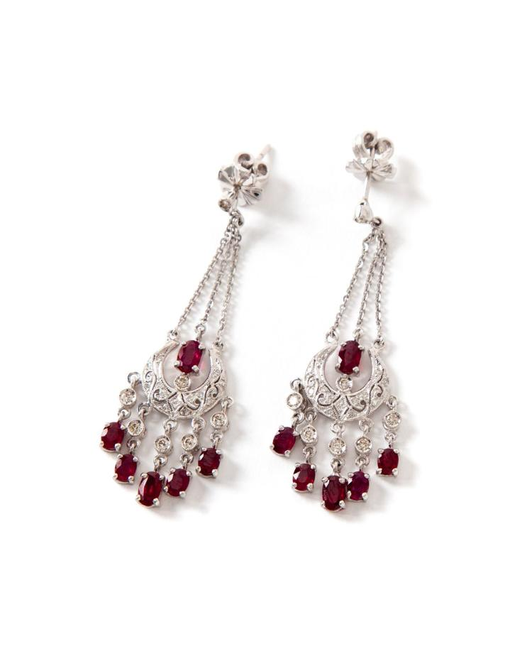 RUBY AND DIAMOND CHANDELIER-STYLE EARRINGS.