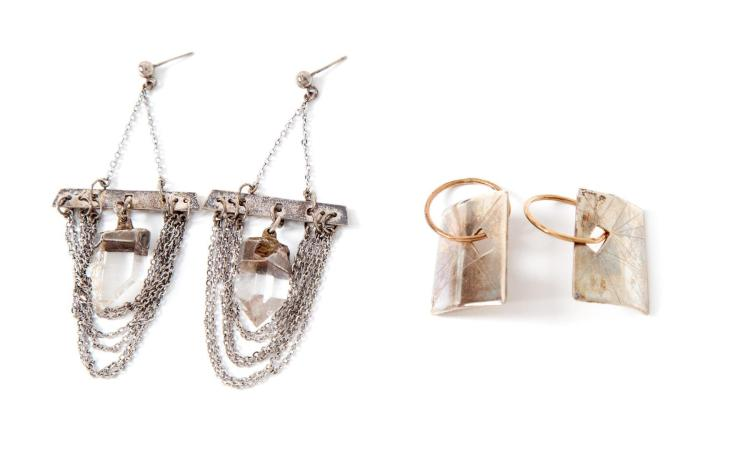 TWO PAIRS OF SILVER EARRINGS, MARY ANN SCHERR.