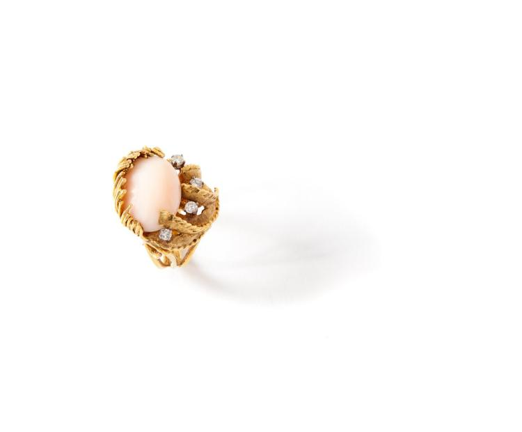 ANGEL SKIN CORAL RING.