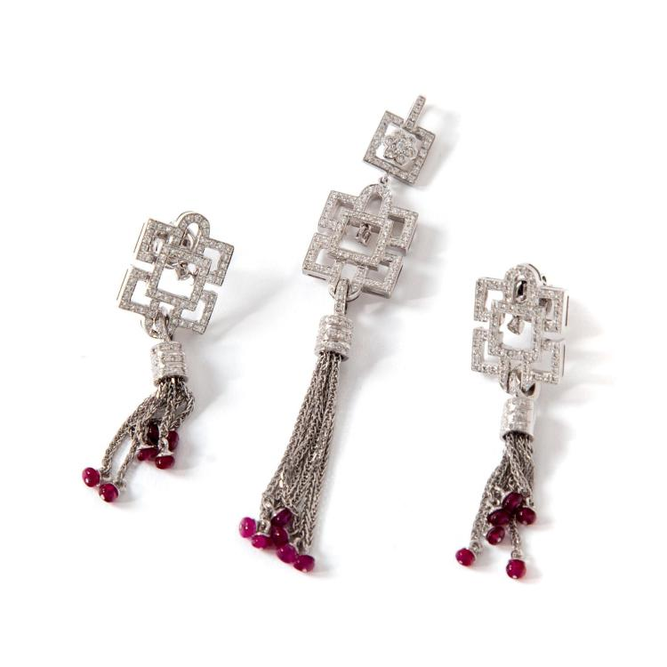 DIAMOND AND RUBY DECO-STYLE EARRINGS & PENDANT.