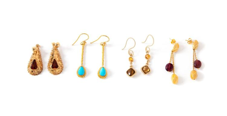 FOUR PAIRS OF GOLD AND GEM SET EARRINGS.
