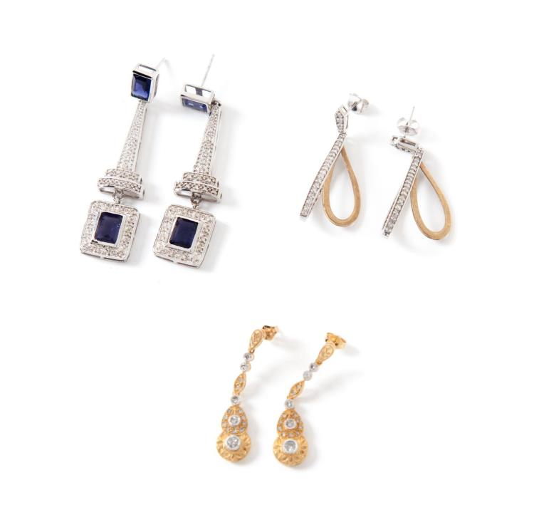 THREE PAIRS OF GOLD AND DIAMOND EARRINGS.