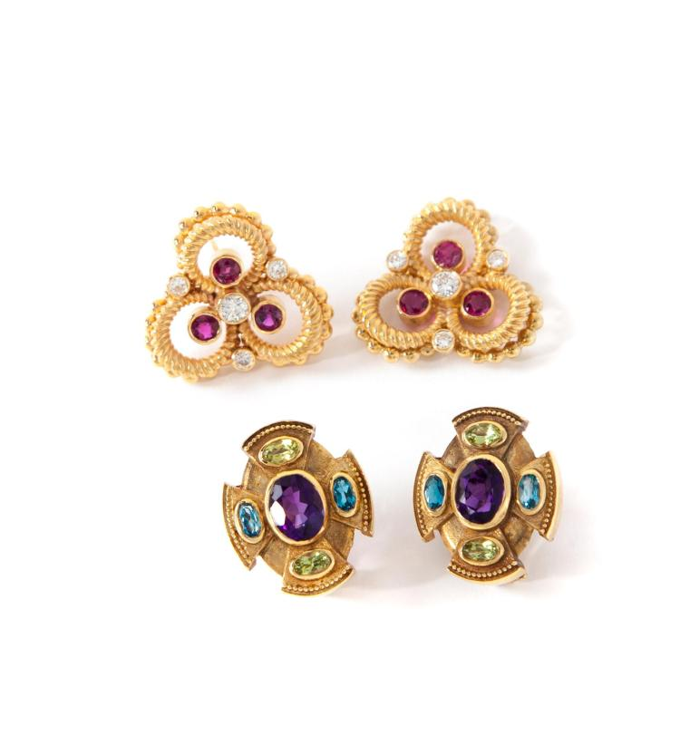 TWO PAIRS OF 14 KARAT GOLD AND GEMSTONE EARRINGS.
