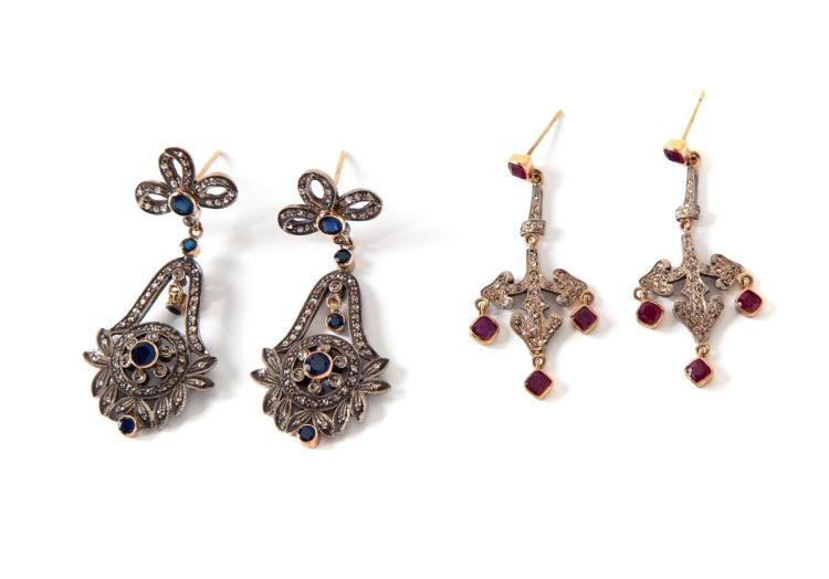TWO PAIRS OF VICTORIAN REPRODUCTION EARRINGS.