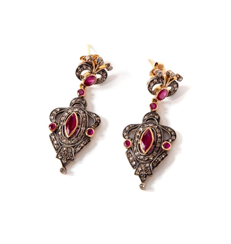 VICTORIAN-STYLE EARRINGS WITH RUBIES AND DIAMONDS.