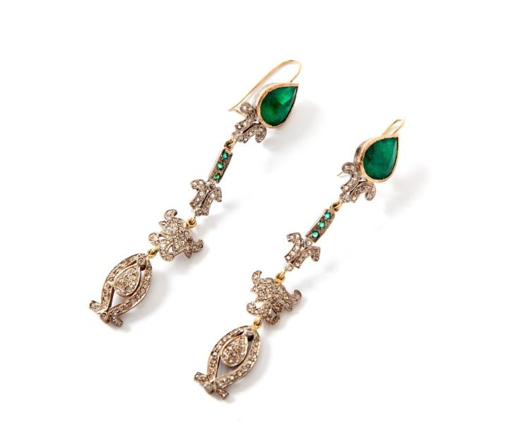 VICTORIAN-STYLE EMERALD AND ROSE CUT DIAMOND EARRINGS.