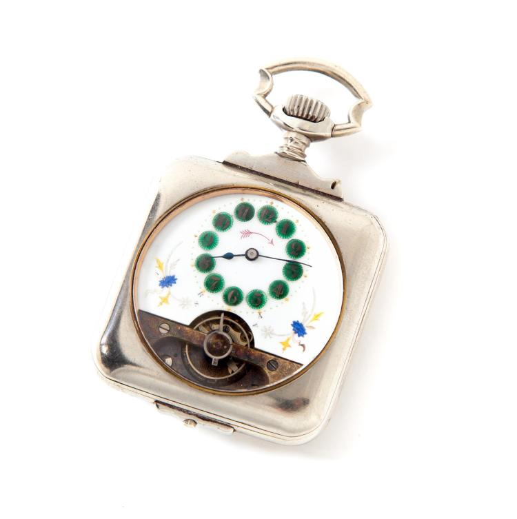 HEBDOMAS TYPE 8-DAY POCKET WATCH.