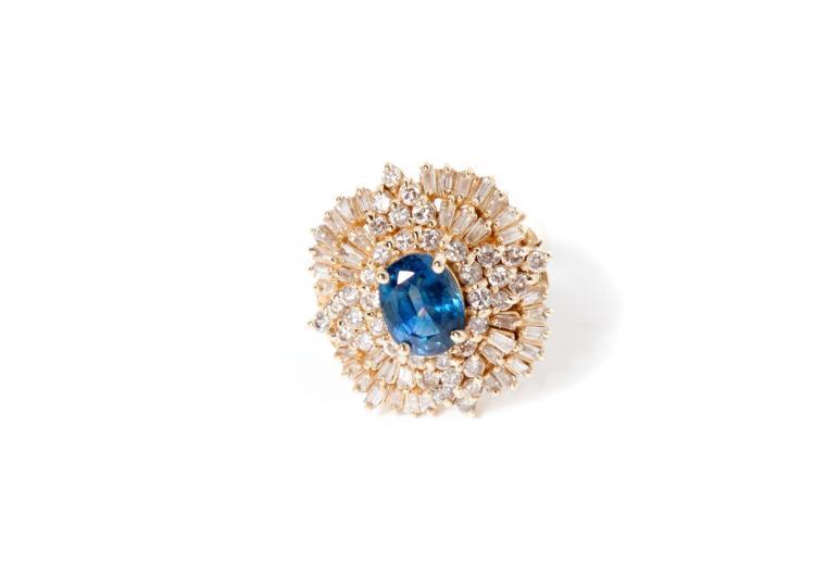 SAPPHIRE AND DIAMOND BALLERINA STYLE RING.